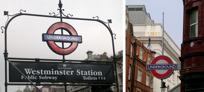 3-dimensonal roundels acting as wayfinding signs around the city of London