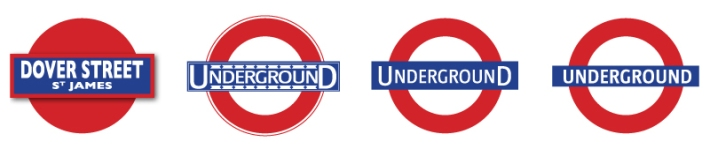 Far Left: Initial version of the roundel (1908). Left: Early version of the roundel used as a logo with...(approx 191). Right: Version of logo designed with a large initial U and final D. Far Right: Current version of the roundel used as a logo.