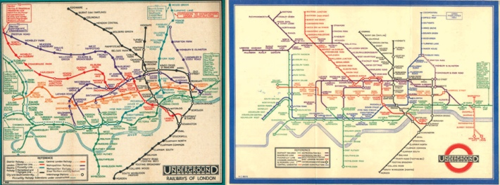 Left: London Underground map (1932) created by Segmeyour. Right: London Underground diagram (1933) created by Henry Beck