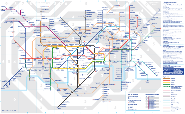 Diagram map of London transport systems